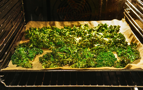 Prepared kale chips in the oven